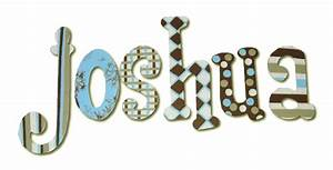 joshua39s blue and brown hanging wooden letters With blue wooden letters