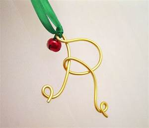 gold wire letter ornament or silver with jingle bell monogram With gold letter ornaments