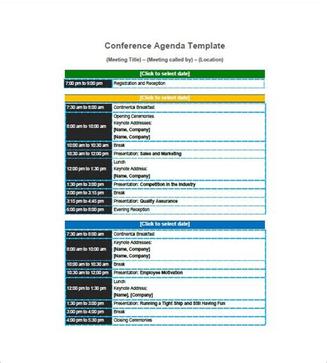 agenda planner template   word excel  format