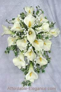 IVORY CREAM Or WHITE Bridal Bouquet Calla LILIES Lily Silk