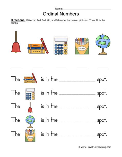 ordinal numbers worksheet 1