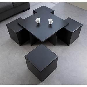Table Basse 4 Poufs : table basse carr avec pouf le bois chez vous ~ Teatrodelosmanantiales.com Idées de Décoration
