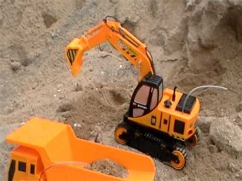 toy rc dump truck  toy rc shovel arm excavator  action youtube