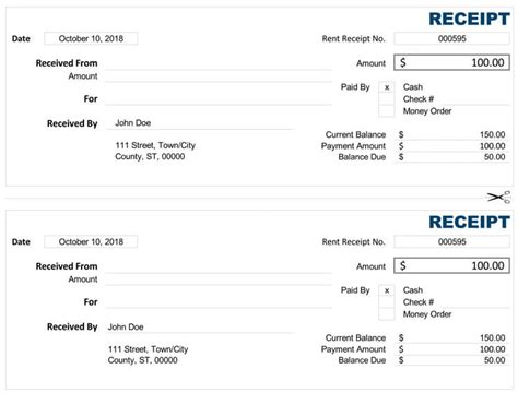 cash receipt templates  word excel