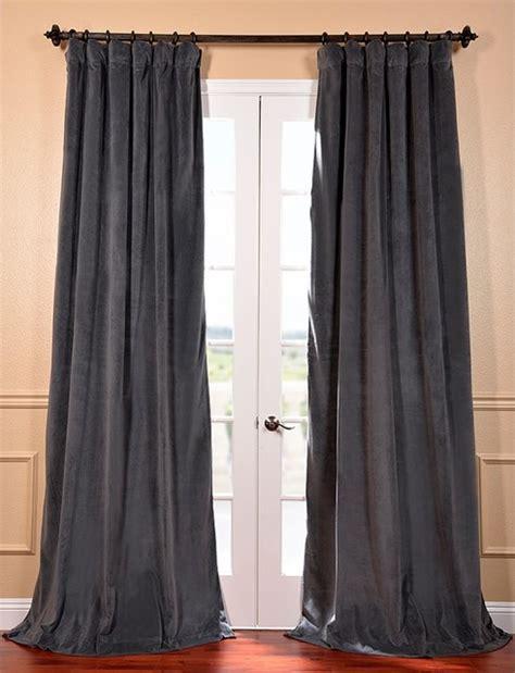 grey velvet blackout curtain panel contemporary