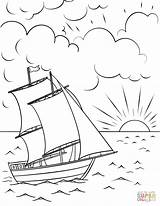 Coloring Sunset Ship Sailing Pages Boat Printable Drawing Colouring Ships Boats Sheet Sail Sheets Drawings Easy Flower Sky sketch template