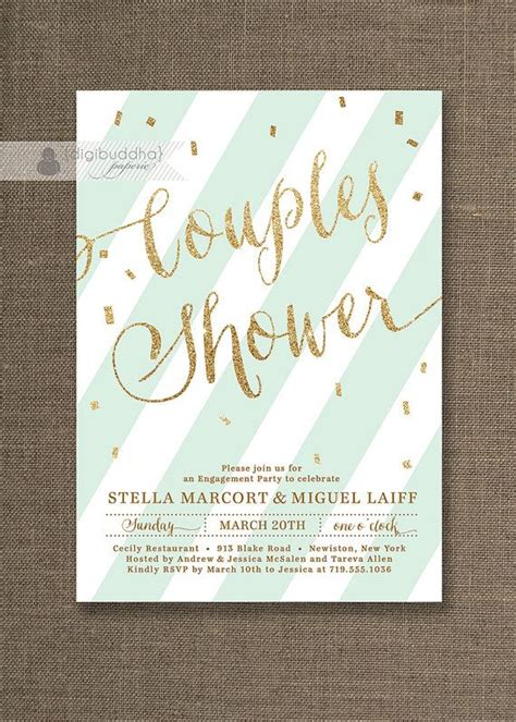 mint green gold couples shower invitation glitter pastel