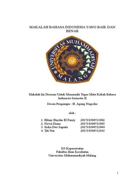 makalah bahasa indonesia yang baik dan benar