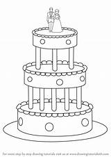 Cake Draw Wedding Step Drawing Cakes Drawingtutorials101 Tutorial Previous Food sketch template