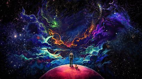man  dog fantasy space cosmic universe