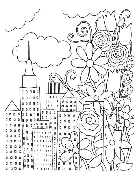 coloring book page  urban flowers unicorn love