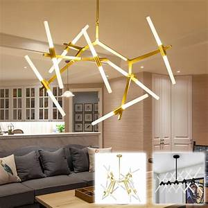 Tree, Branch, Gold, Simple, Ceiling, Hanging, Light, Lamp, Led, Rotatable, Modern, Glass, Tube, Rod, Pipe, Led