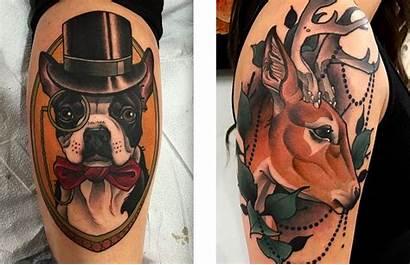 Traditional Neo Tattoos Tattoo Reaper Dog Deer