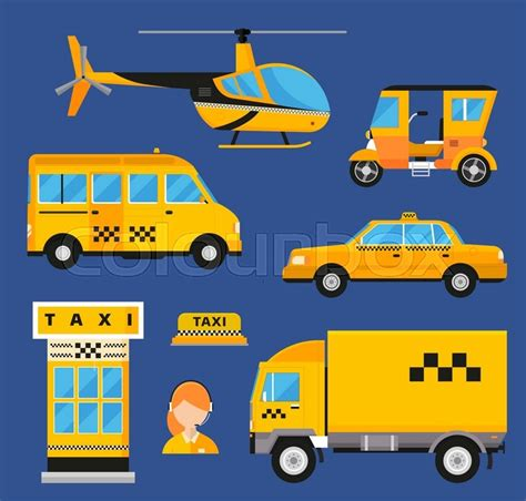 Different Types Of Taxi Transport. Cars, Helicopter, Van