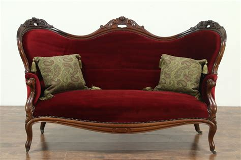 Vintage Settee Loveseat by Sold 1870 Antique Carved Mahogany Velvet
