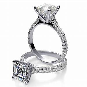 Three row pave diamond engagement ring for Pave wedding rings