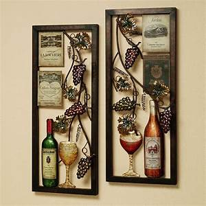 Divine double square metal artworks wine and bottles