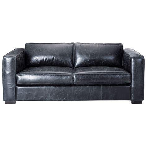 canapé en cuir canapé convertible 3 places en cuir noir berlin maisons