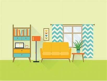 Living Vector Illustration Clip Flat Retro Illustrations