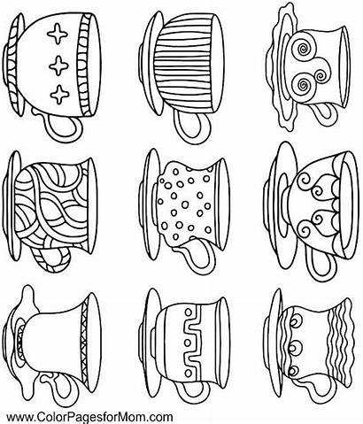 Coffee Coloring Pages Cups Tea Printable Adult