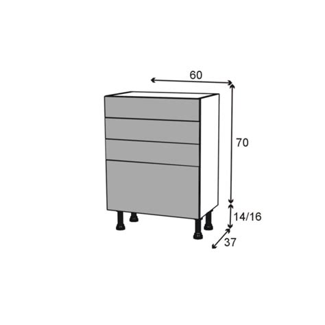 plan meuble cuisine meuble de cuisine bas stecia 4 tiroirs l60 x h70 x
