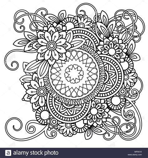 adult coloring page  flowers pattern black  white