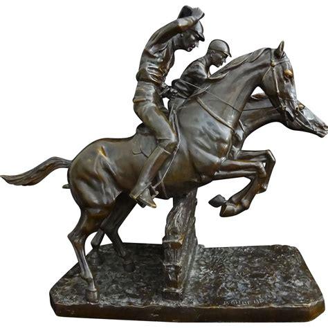 equestrian steeplechase bronze sculpture  isidore