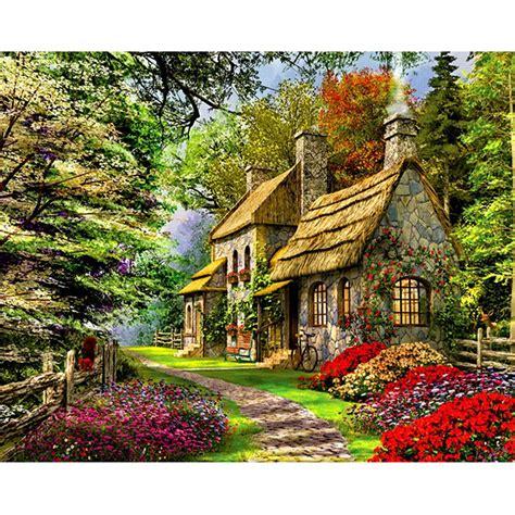Malen Nach Zahlen  Haus Im Wald  Malen Nach Zahlen Eu