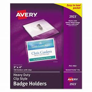 ave2923 avery secure top clip style badge holders zuma With avery name badge inserts 5390