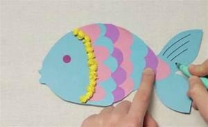 Meerjungfrauen Schwanzflossen Für Kinder : basteln mit kindern kostenlose bastelvorlage tiere bunten regenbogenfisch basteln ~ Watch28wear.com Haus und Dekorationen