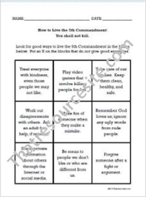 commandment worksheet large print