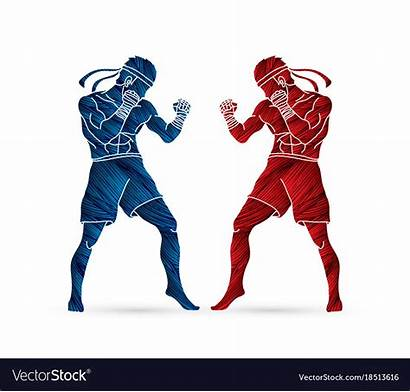 Thai Muay Boxing Standing Fight Ready Vector
