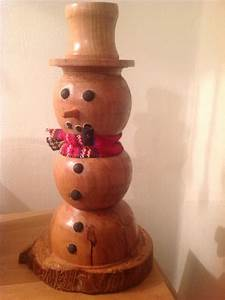 Wood turned snowman from a apple tree wood turning