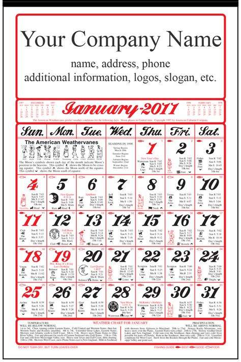 farmers almanac calendar calendar company