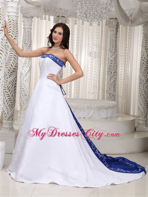 light blue 15 dresses strapless court train embroidery on satin wedding dress in