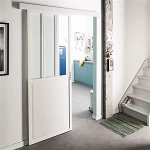 Porte De Placard Style Verriere : une verri re coulissante blanche de style atelier leroy merlin ~ Nature-et-papiers.com Idées de Décoration