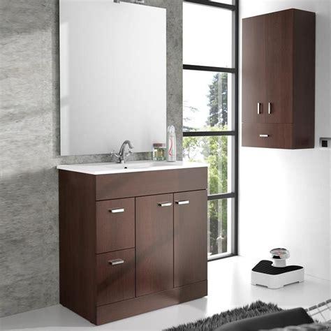 meuble salle de bain 80 cm plan vasque porcelaine wenge
