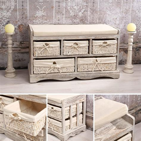 Flur Mit Körben by Sitzbank Kommode 5 K 246 Rbe Shabby Chic Wei 223 Bank Truhe Real