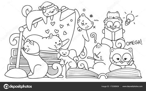 Kleurplaat Lezen by Getrokken Schattige Katten Lezen Voor Ontwerpelement