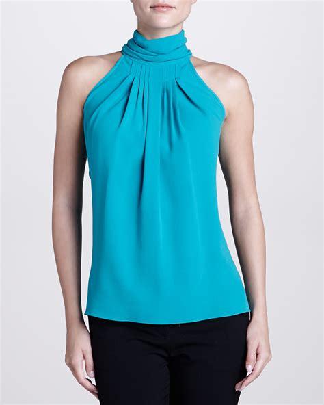 turtleneck blouse lyst michael kors georgette pleated turtleneck blouse