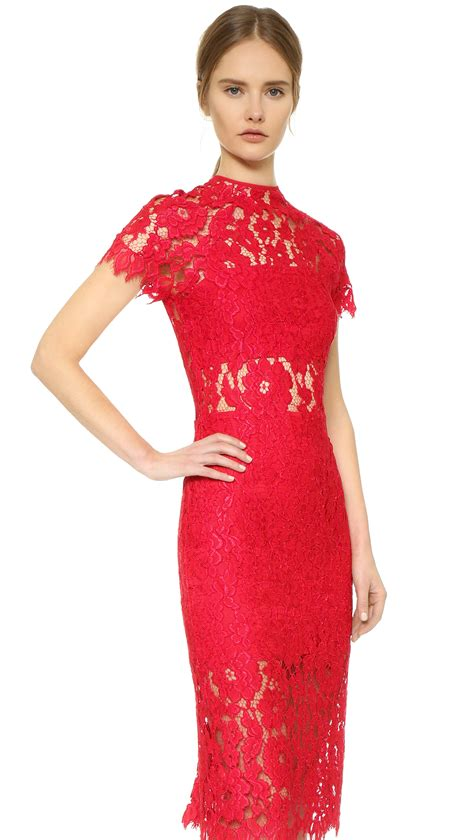 Lyst  Alexis Leona Lace Dress  Red In Red