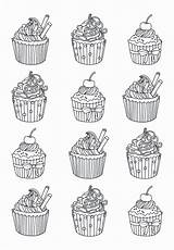 Coloring Pages Cupcake Adult Adults Cupcakes Easy Cakes Cup Cake Celine Zentangle Yum Justcolor Warhol Andy Printable Colors Many Eat sketch template