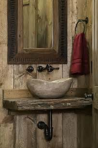rustic wood powder half bath with stone vessel sink