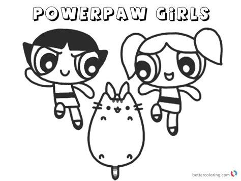 pusheen coloring pages powerpaw girls  printable