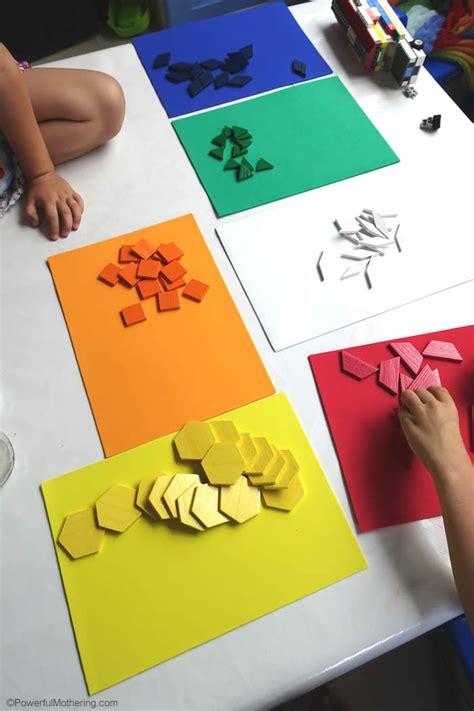 color shape sorting  pattern blocks