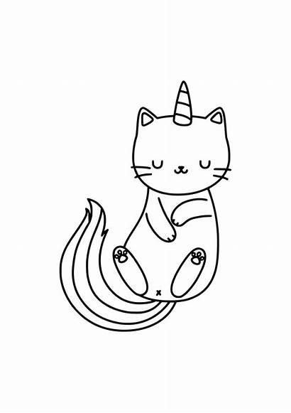 Unicorn Cat Meditation Coloring Tags