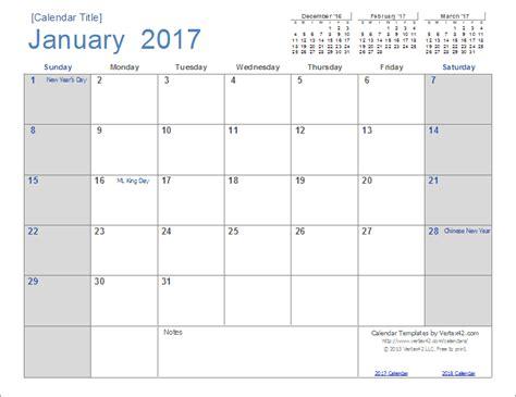 Free Printable Calendar Templates 2017