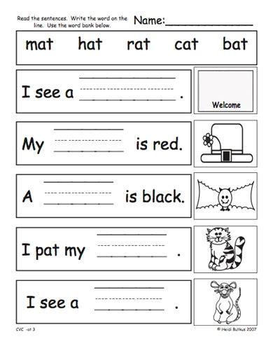 cvc phonics worksheets for kindergarten 4 best images of
