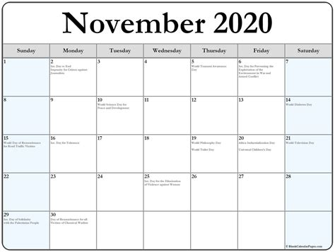 collection november calendars holidays