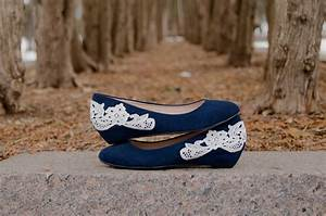 Wedding Shoes Navy Blue Wedges Wedding Heels Bridal by ...